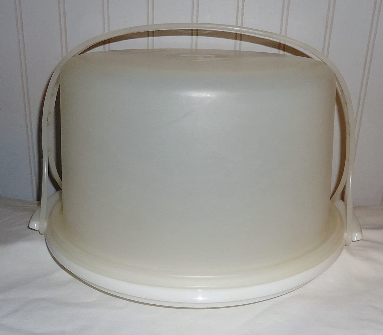 Vintage Round Tupperware Cake Server Carrier White Base with Carrying Handle 684-1 683-1