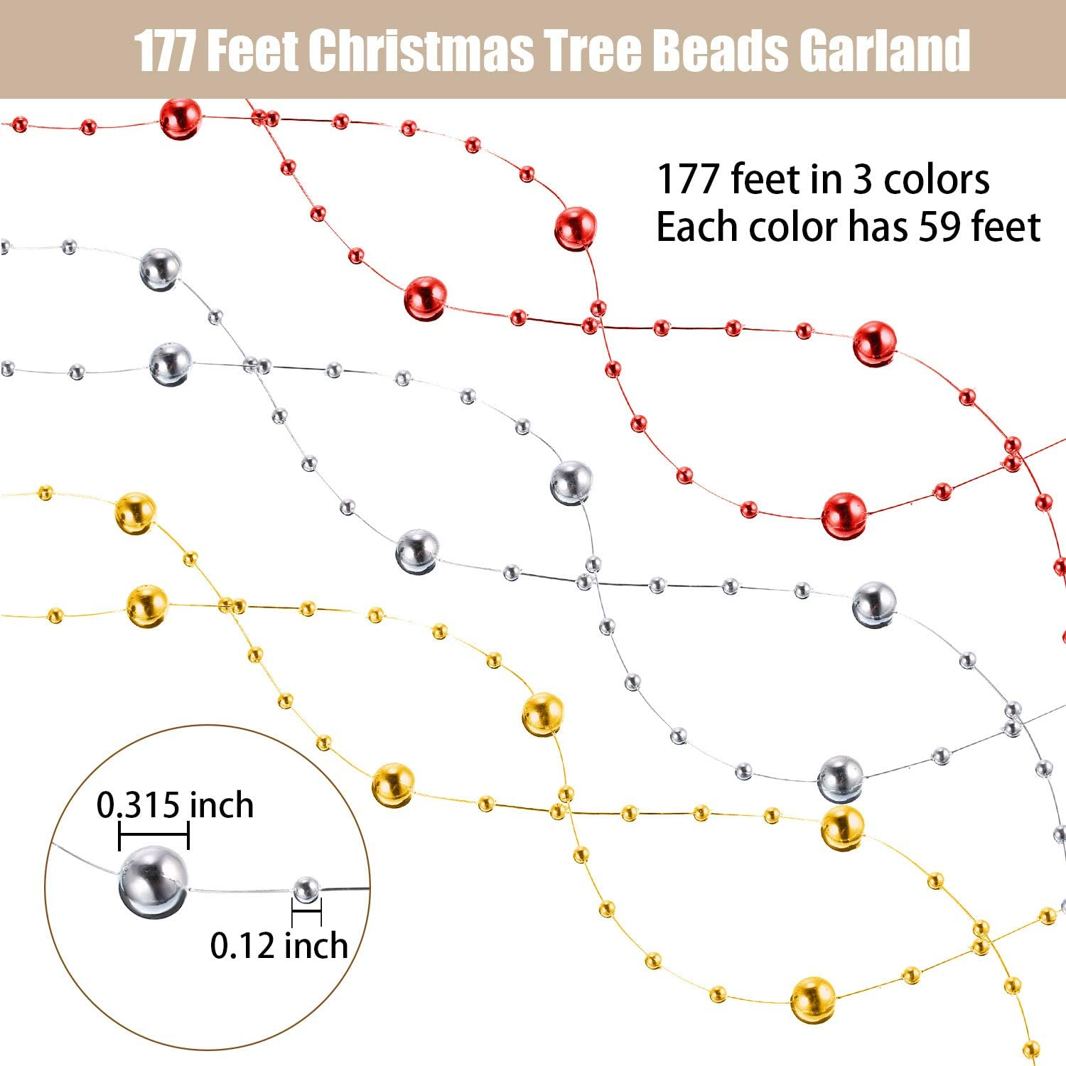 Pangda 177 Feet Christmas Tree Beads Garland Plastic Pearl Strands Chain for Christmas Tree Wreath Gift Wrapping Decoration Pearl, Silver, Gold