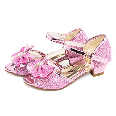 66bc70a72f7a Amazon.com: Party Chili Princess Wedding Rhinestone Heels Shoes Sequin  Sandals for Little Girls Dress Up: Clothing