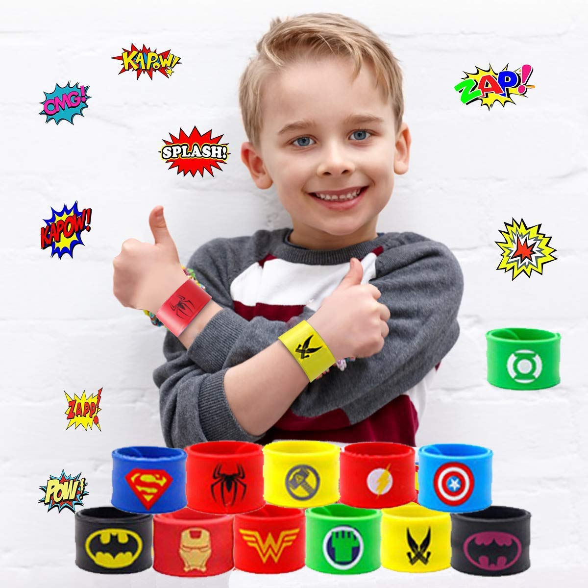 caicainiu 20 Pack Superhero Wristbands and 50 Superhero Stickers Party Supplies Childrens Bracelets with Boys Adult Birthday Kids Superhero Party Like Toys