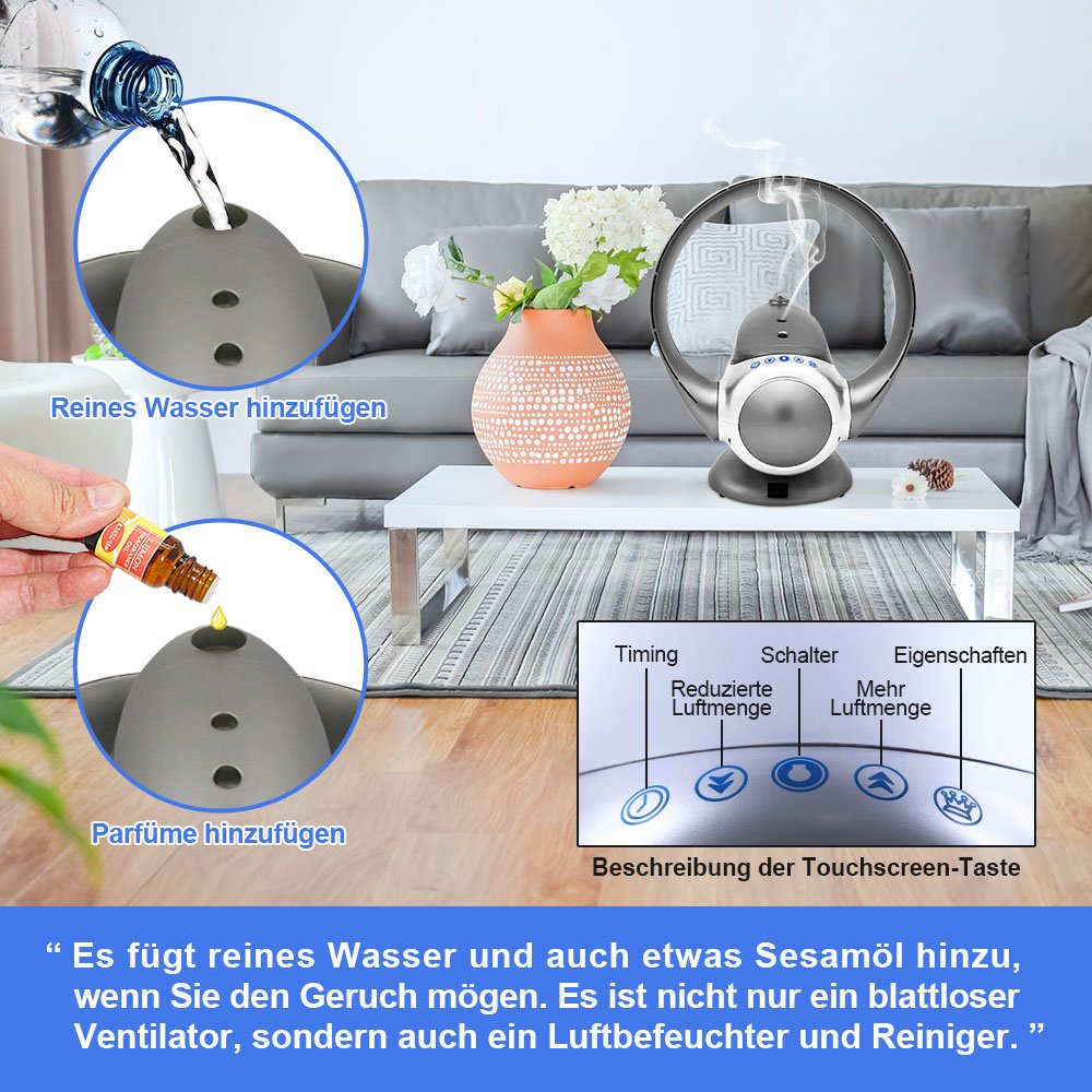 EODO Blattloser Ventilator, Luftvervielfachender Ventilator, Turmventilator  Für Luftbefeuchter Und Luftreiniger (Splitter): Amazon.de: Baumarkt