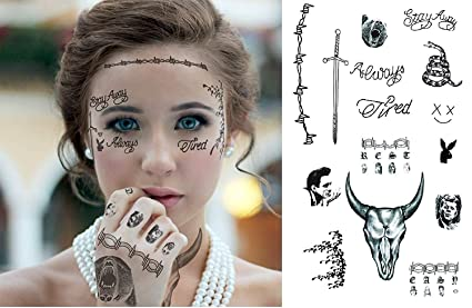 10e80bb0d Ginkago Post Malone Inspired Temporary Tattoos, Tattoo Set, Includes FACE,  Hands & ARM