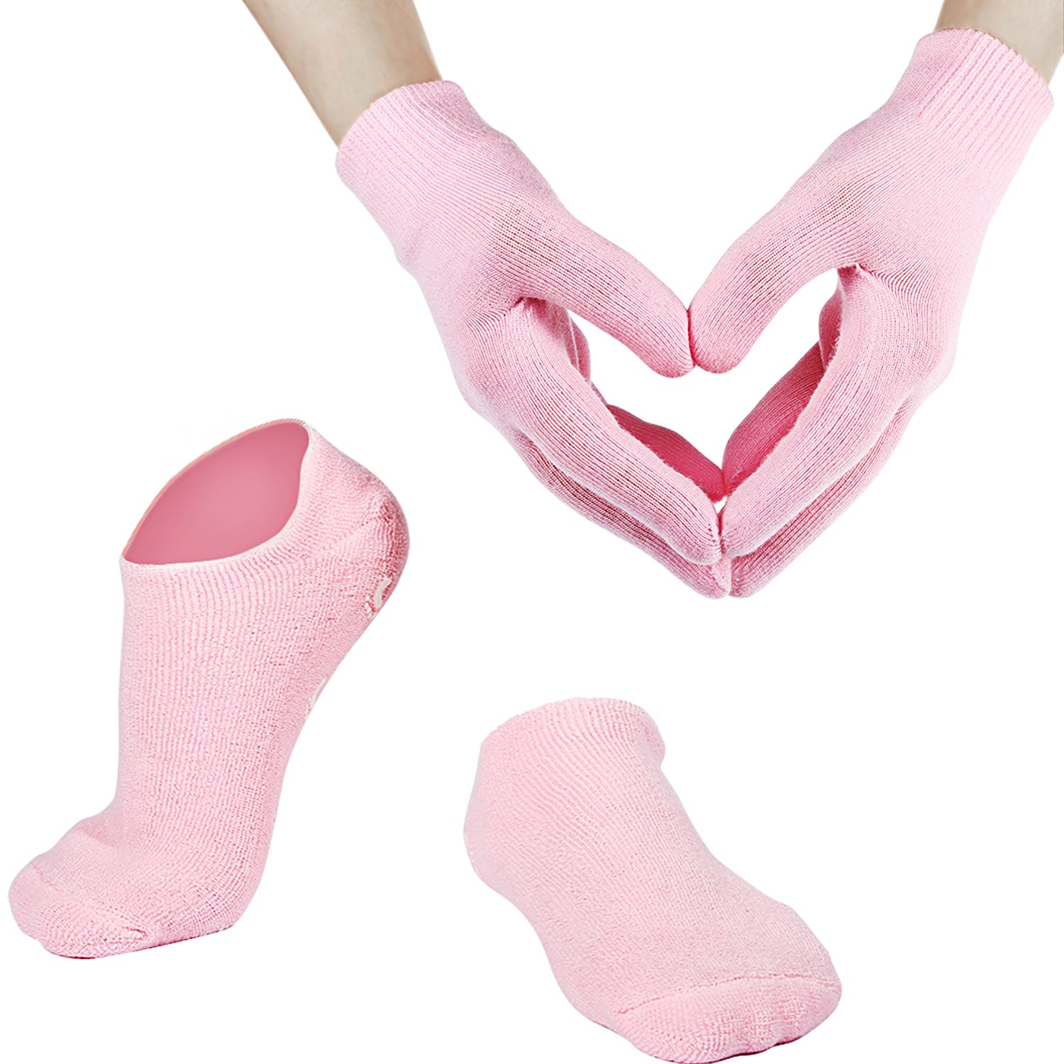 Bememo Soft Cotton Gel Moisturizing Spa Gloves and Socks for Cracked Dry Skin for Both Women and Men (Pink) by Bememo (Image #1)