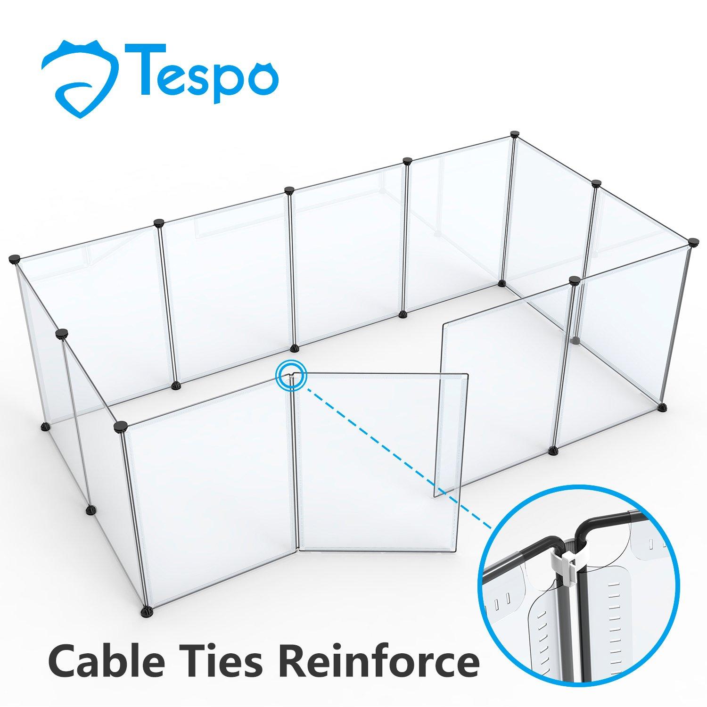 Tespo Clôture pour petits animaux en plastique blanc transparent, 12Panneaux CB05PB