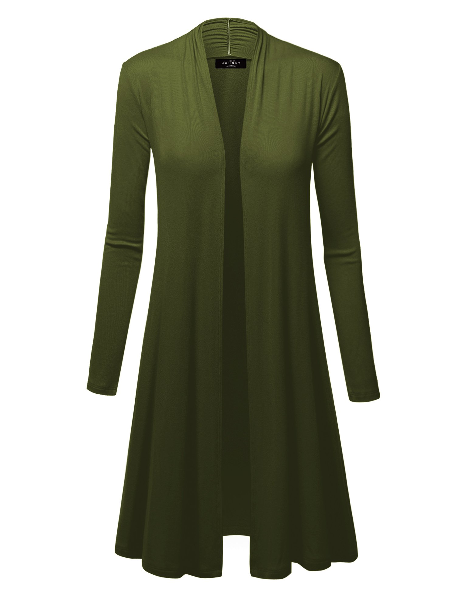 WSK1048 Womens Solid Long Sleeve Open Front Long Cardigan L Olive