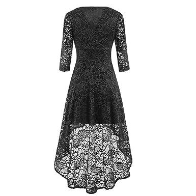 60068636ae9 Luckycat Räumungsverkauf Damen doe Spitzenkleid Womens Vintage LaceV Neck  unregelmäßige