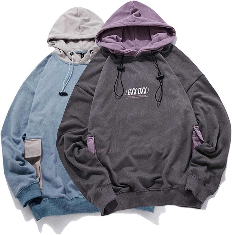 KETUREIR Men Cute Pockets Hoodie Pullover Harajuku Sweatshirt Langarm Mode Casual Streetwear Gray