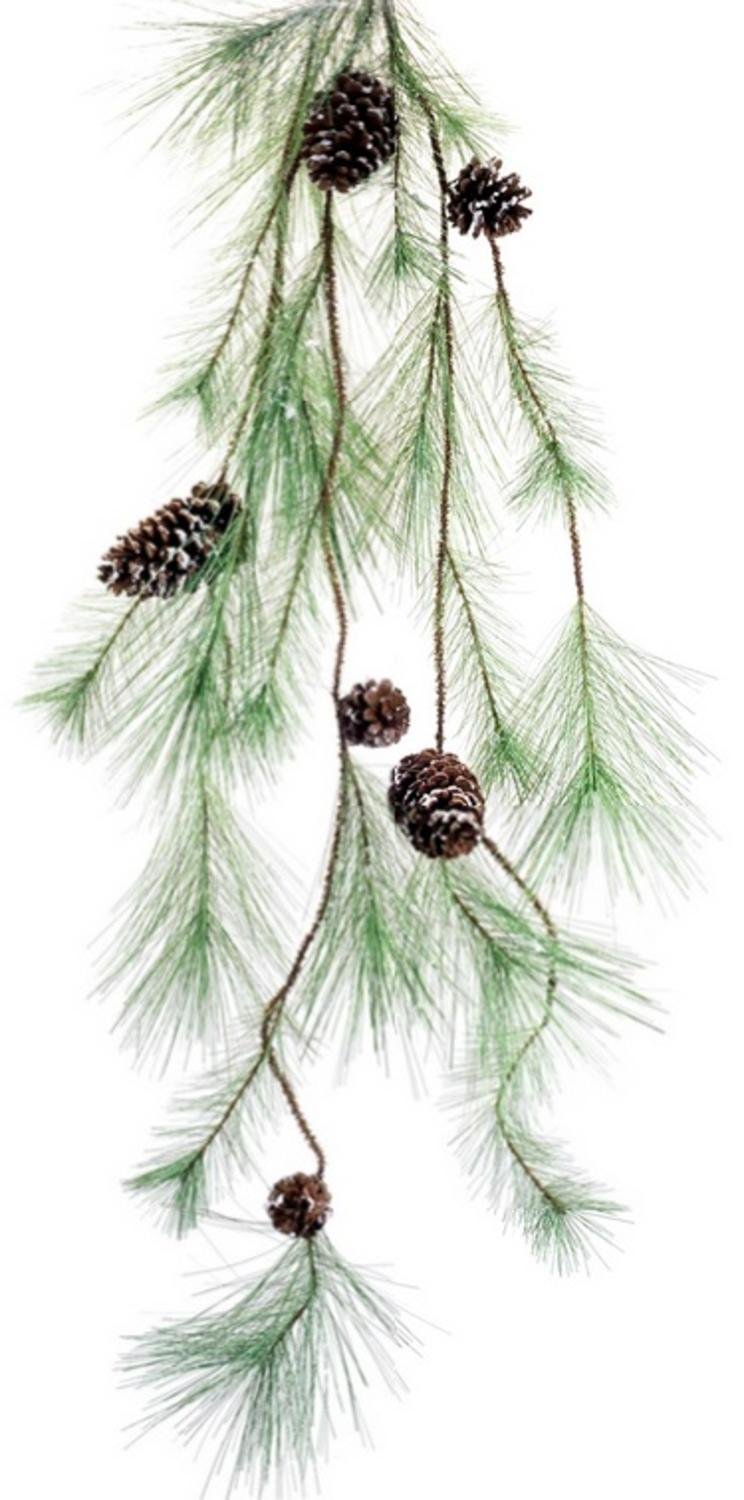 Diva At Home Pack of 6 Unlit Artificial Green and Brown Snowy Pine Christmas Swag 47''