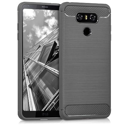 kwmobile Funda para LG G6 - Carcasa de [TPU] para móvil y diseño de Carbono Cepillado en [Antracita]