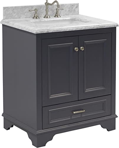 Nantucket 30-inch Bathroom Vanity Carrara/Charcoal Gray : Includes Charcoal Gray Cabinet