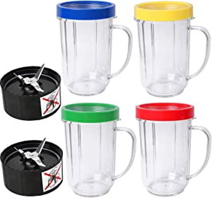 16oz Bullet Cups Compatible with Ma-gic Bu-llet Blender Juicer 250W MB-1001 Party Cups Mugs 4 Pack By Wadoy with Colored Lip Rings & 2 Cross Blade