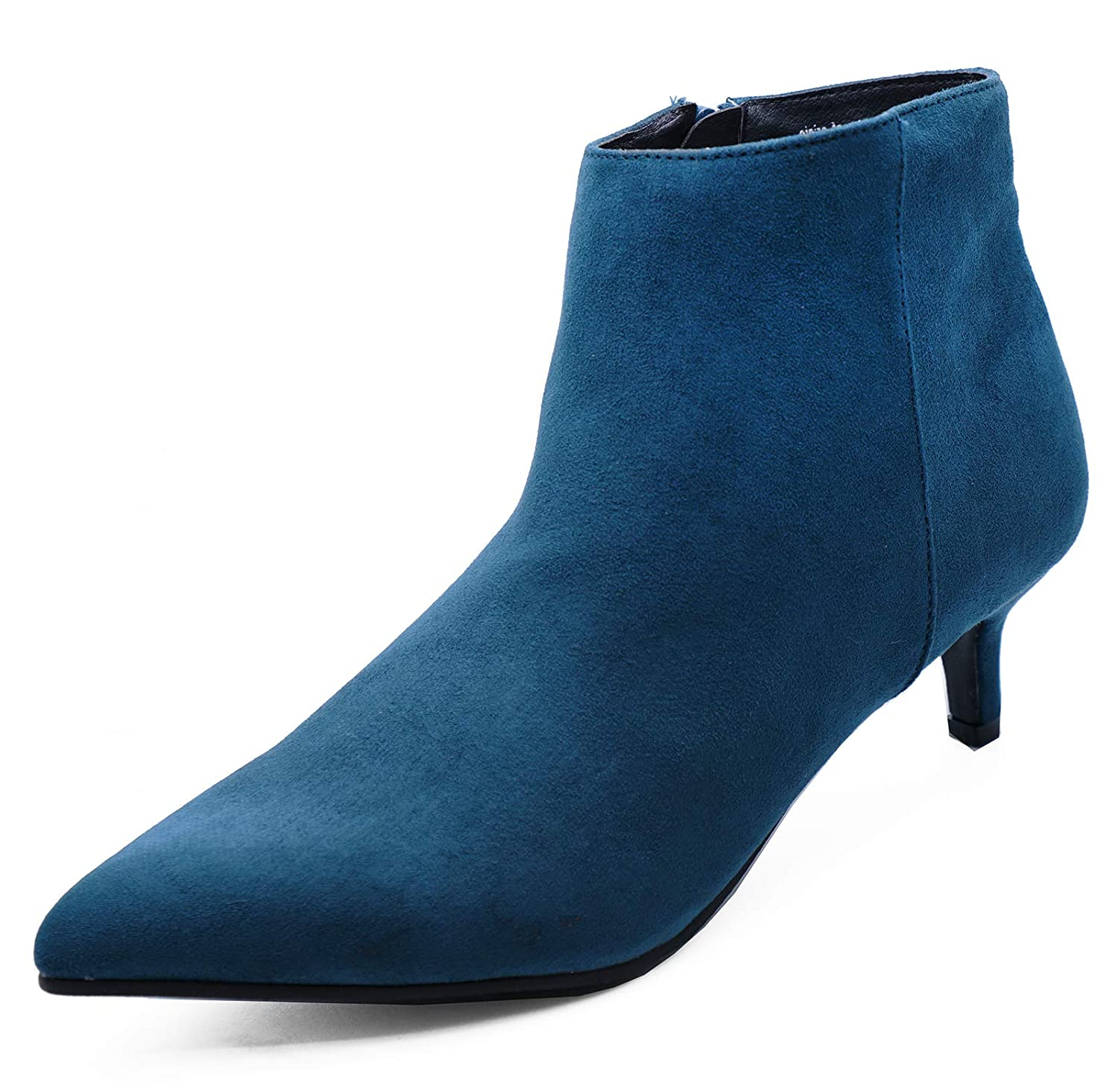 d3b71103fb0 Ladies Teal Zip-Up Wide-Fit Kitten Low Heel Faux Suede Ankle Boots Work  Shoes Sizes 3-9