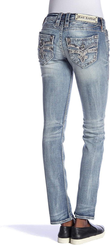 Amazon Com Rock Revival Pantalones Vaqueros Para Mujer Barbila Con Puntadas Rectas Clothing