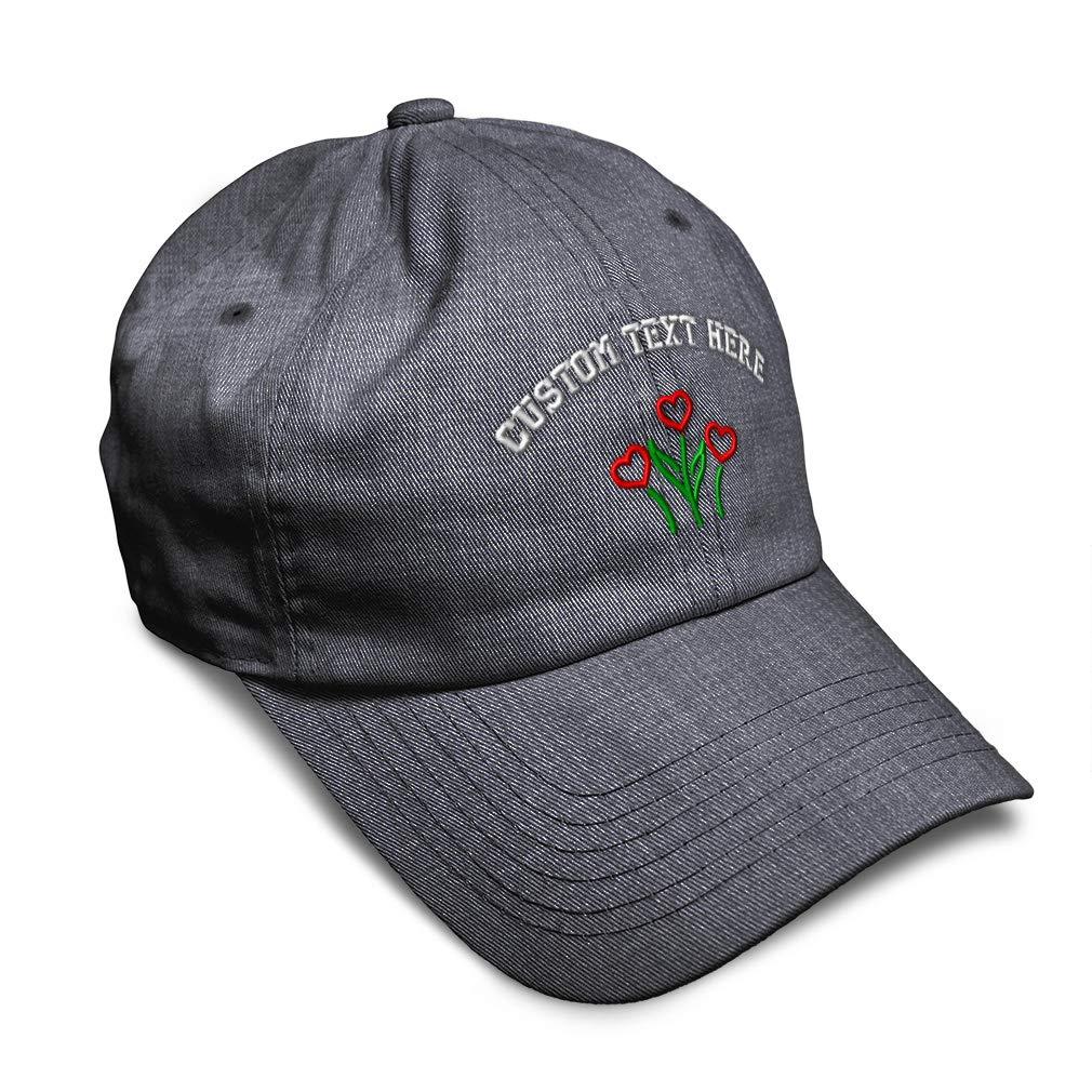 Custom Soft Baseball Cap Heart Flowers Embroidery Dad Hats for Men /& Women