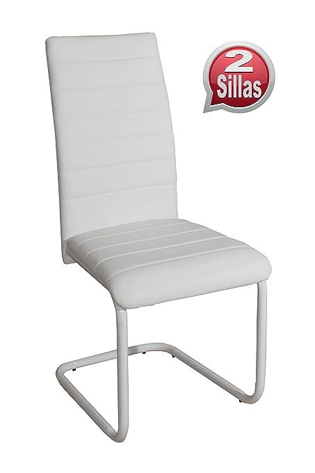 Pack 2 sillas para comedor o salon tapizadas en color blanco y ...