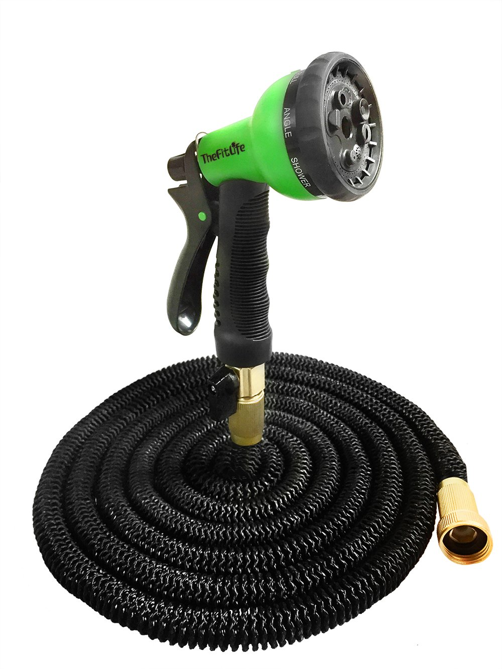 TheFitLife Flexible & Expandable Garden Hose - 25/50/75/100 Ft With Strongest Triple Core Latex & Solid Brass Fittings Free Spray Nozzle 3/4 USA Standard Kink Free Easy Storage Water Hose (25Ft)