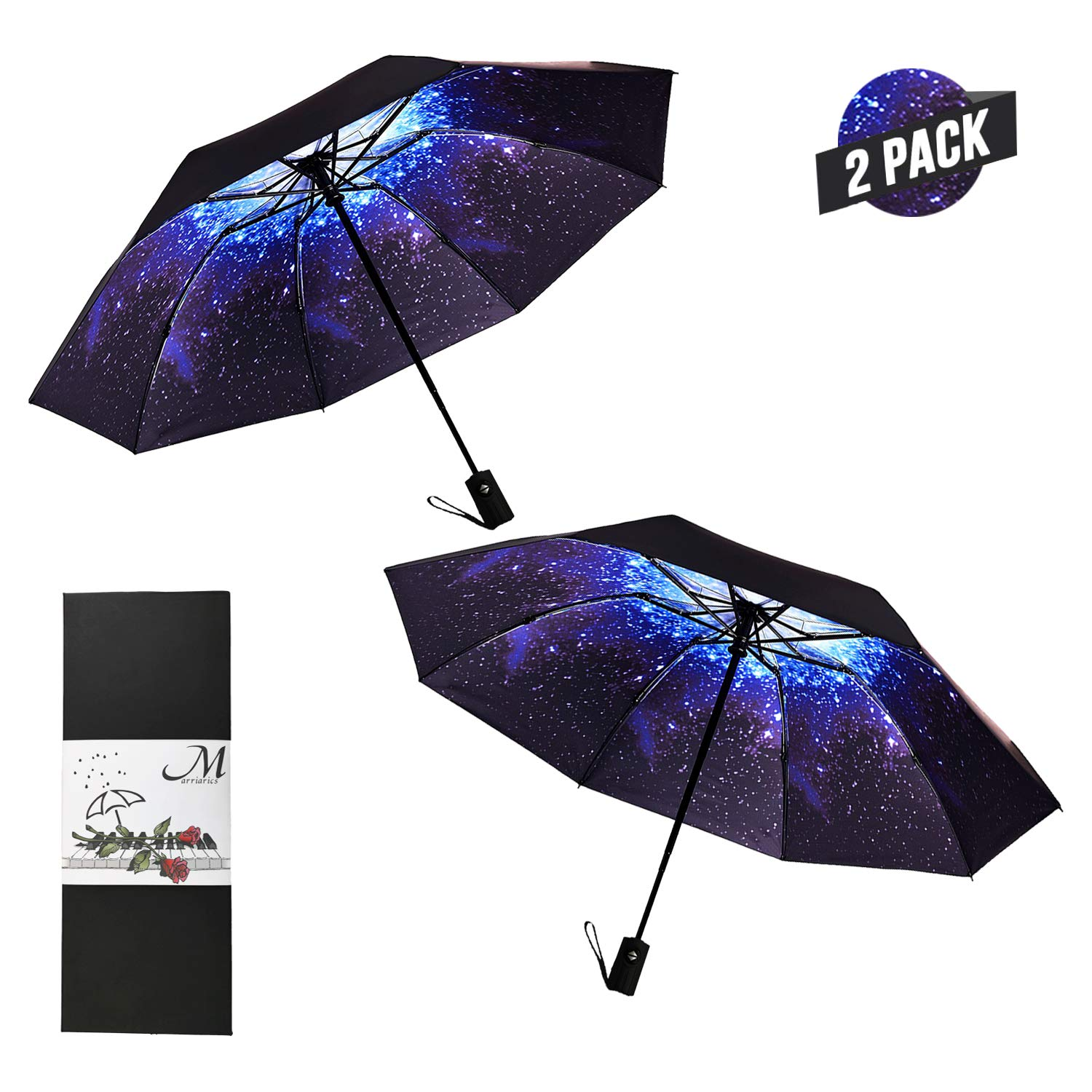 Marriarics Compact Travel Umbrella Windproof, 2 Pack Starry Sky, Nice Package for Gift.