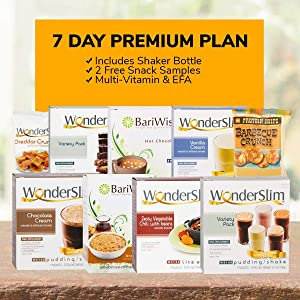 WonderSlim Premium 1 Week Diet Kit – Complete Weight Loss Package – Meal Replacements, Protein Supplements, Snacks, Desserts and Lifestyle Guide