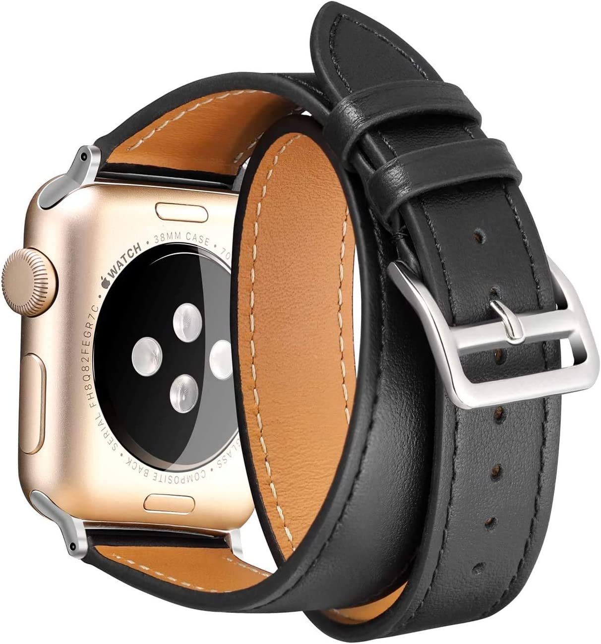 Faytop Double Wrap Genuine Leather Strap for Apple Watch Band 38mm 40mm Women & Men's Bracelet Replacement for Apple Watch Band Series 5/4/3/2/1 Black