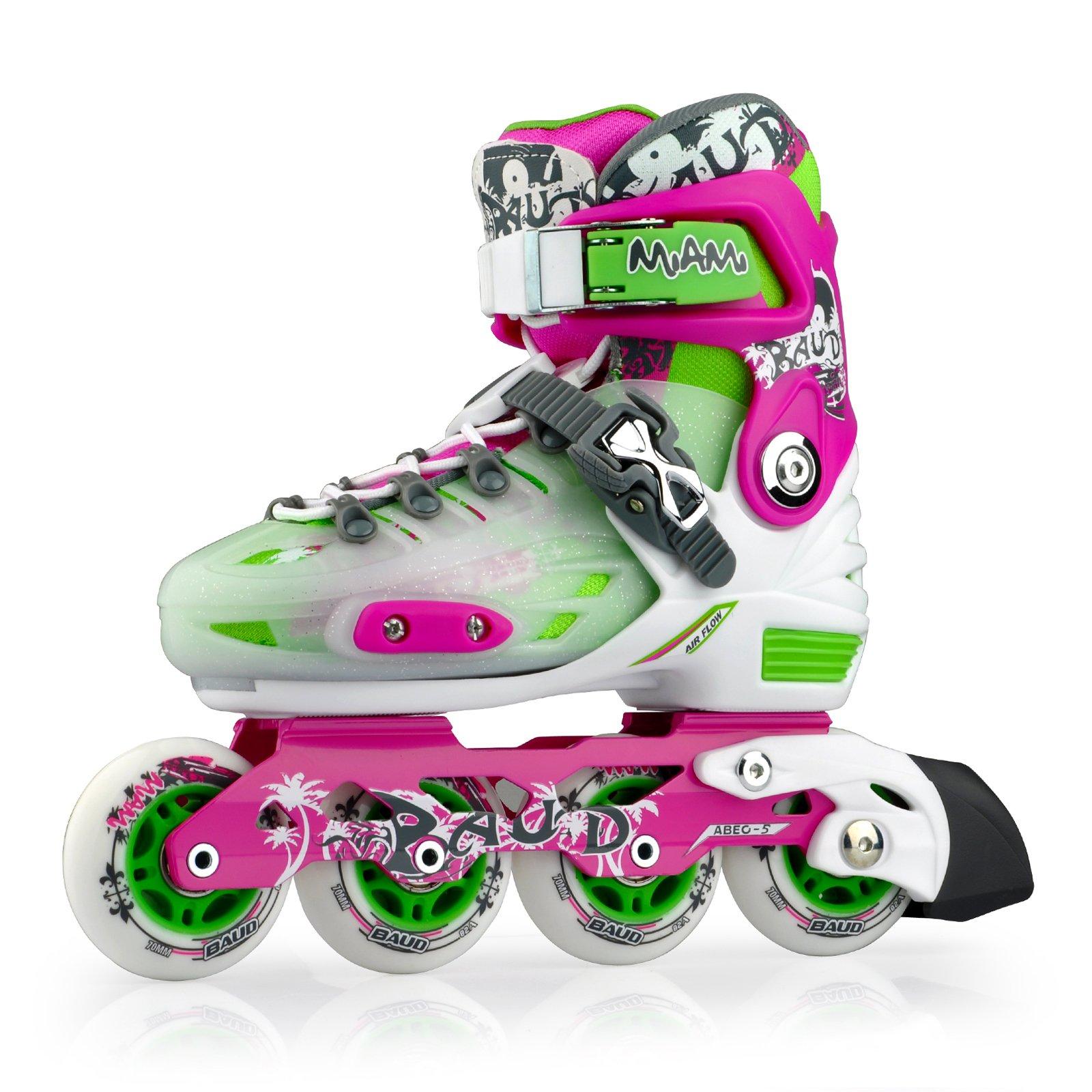 Smartodoors Kids Adjustable Inline Skates Junior Boys Girls Roller Inline Skates (Purple, S(13-2))