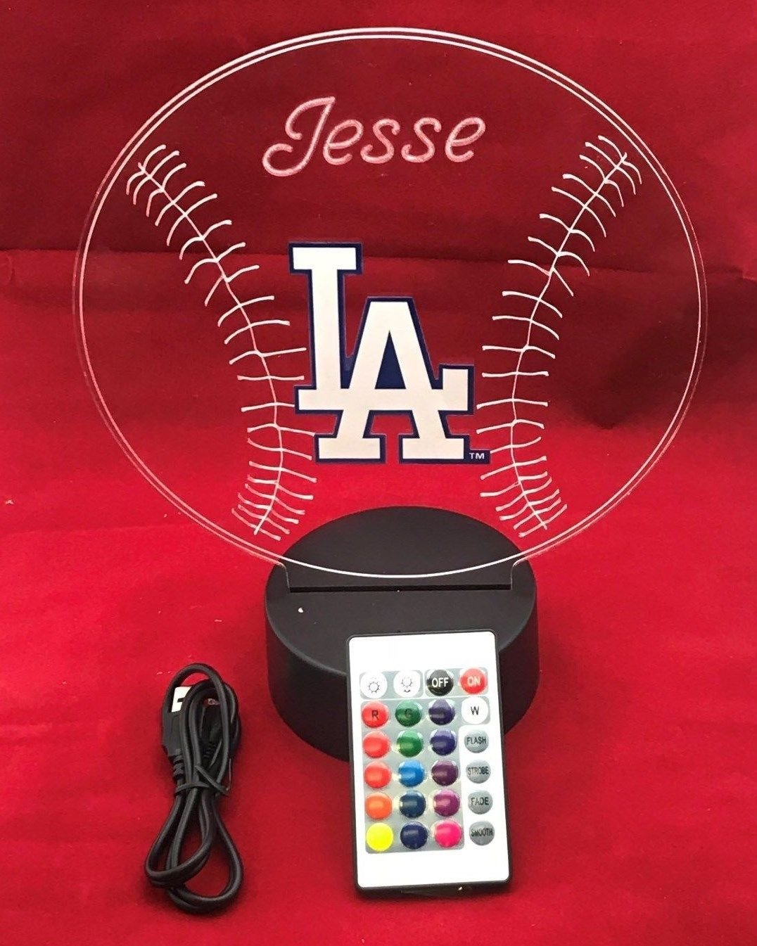 LA Dodgers MLB Light Up Beautiful Handmade Acrylic Personalized Baseball Light Up Light Lamp LED Lamp, Our Newest Feature – It s Wow, with Remote, 16 Color Options, Dimmer, Free Engraved, Great Gift