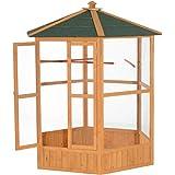 Pawhut 65'' Hexagonal Outdoor Aviary Bird Cage - Green/Brown