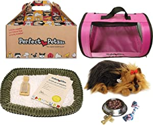 Perfect Petzzz Yorkie Authentic Breathing Petzzz with Pink Tote for Plush Breathing Pet and Dog Food, Treats, and Chew Toy