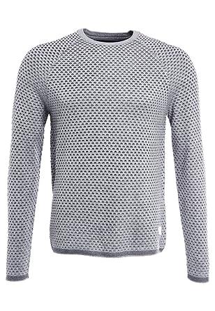 Maglione lavorato a maglia bianco grigio