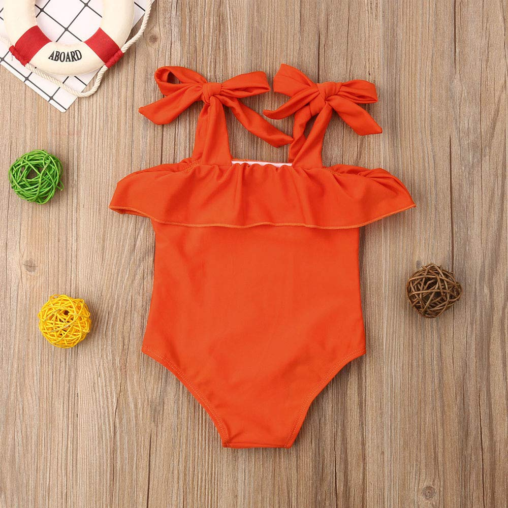 Cute Toddler Girls One Piece Bikini Swimsuit Halter Orange Bathing Suits Solid Fashion Beach Swimwear Sunsuit,6M-5Y
