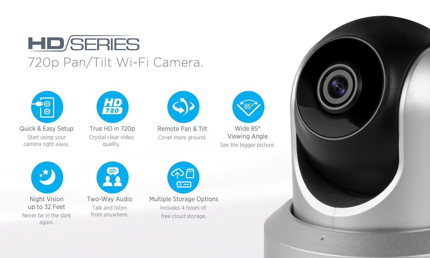 Amazon.com : Amcrest HDSeries 720P WiFi Wireless IP Security Surveillance Camera System IPM-721S (Silver) : Camera & Photo