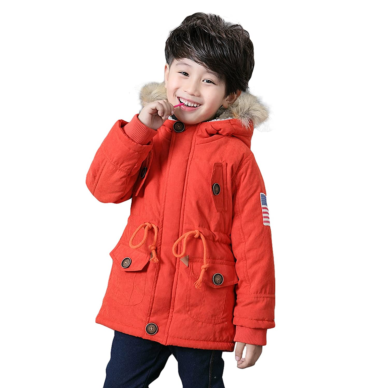 3b7c84747ef3 Unisex Boys Girls Winter Hooded Coat Kids USA Flag Thick Cotton ...