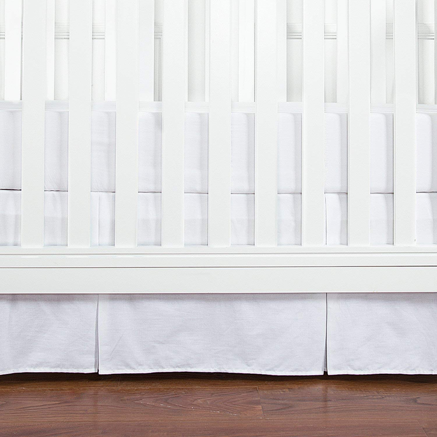 White Crib Skirt 100% Natural Cotton Forest Woodland Split Corner Crib Skirt Pleated Nursery Crib Bedding for Baby Girls or Boys (Measure 28'' x 52'' with 14'' Drop Length, White Solid) (White) by saharbeddings