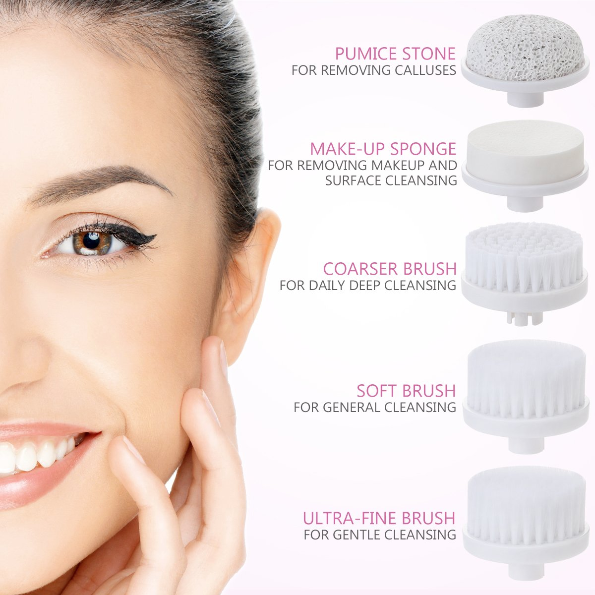 5Pcs Facial Cleansing Brush Head Replacement for PIXNOR 7 in 1 Waterproof Facial Brush