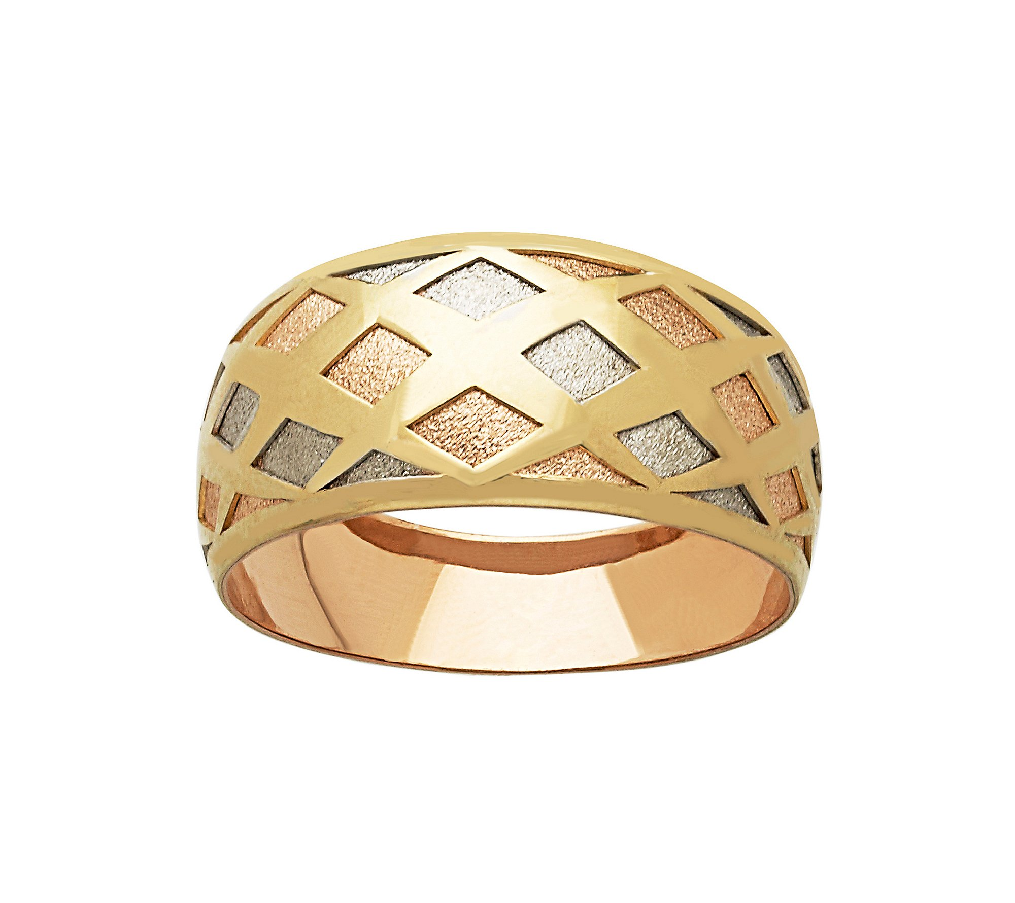 Tri Tone 14K Gold Sparkle Ring With Diamond Shape Stamp by Fine Jewelry (Image #1)