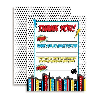 Super Hero Boy temáticas de tarjetas de agradecimiento para ...