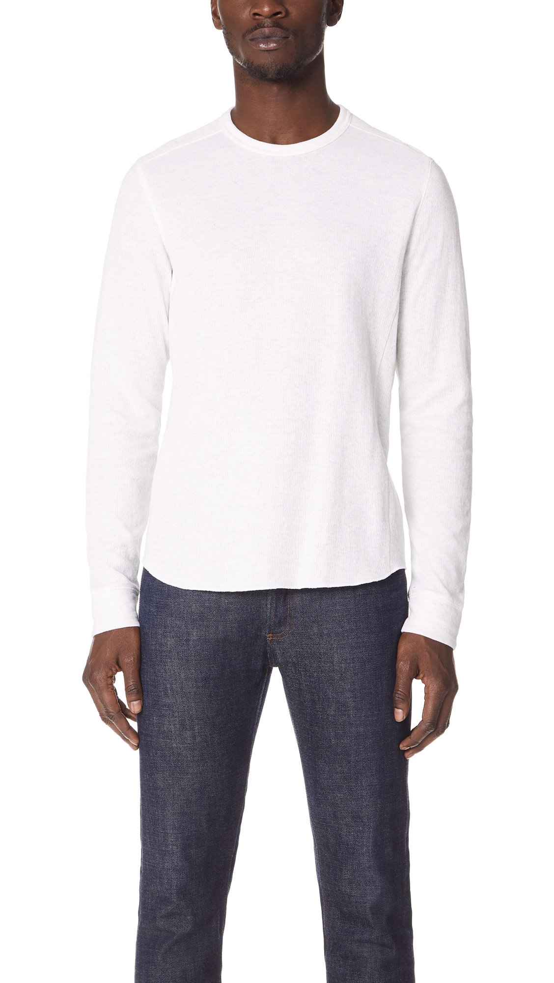 Vince Men's Double Knit Long Sleeve Crew Tee, Heather Optic White, Small