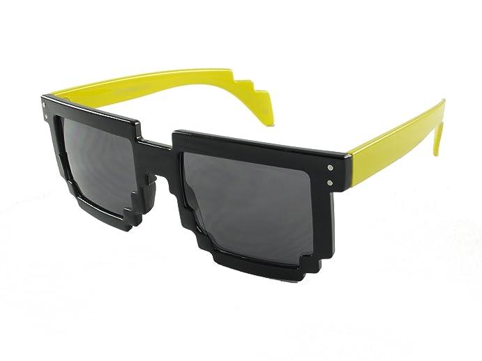 revive eyewear mens pixel retro 90s style yellow frame black lens non polarized sunglasses 140 - Yellow Frame Sunglasses