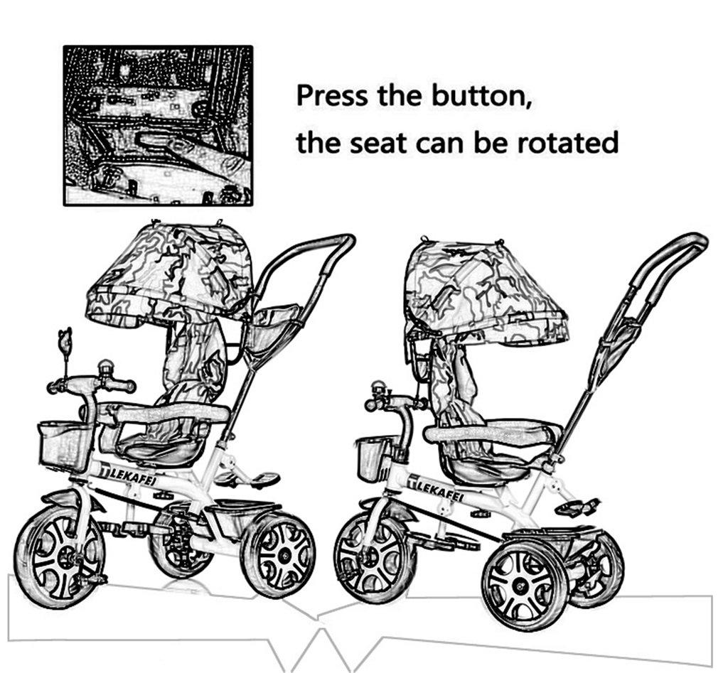 Roue gonflable en caoutchouc RTY-QW Multifonctionnel 4-en-1 Enfant Vélo Tricycle Vélo Vélo Fille Fille Pour 6 Mois -6 Ans Bébé Trois Roues Chariot Avec Auvent et Poignée Parent Amortissement Couleur : #1 Sièges rotatifs Pliable