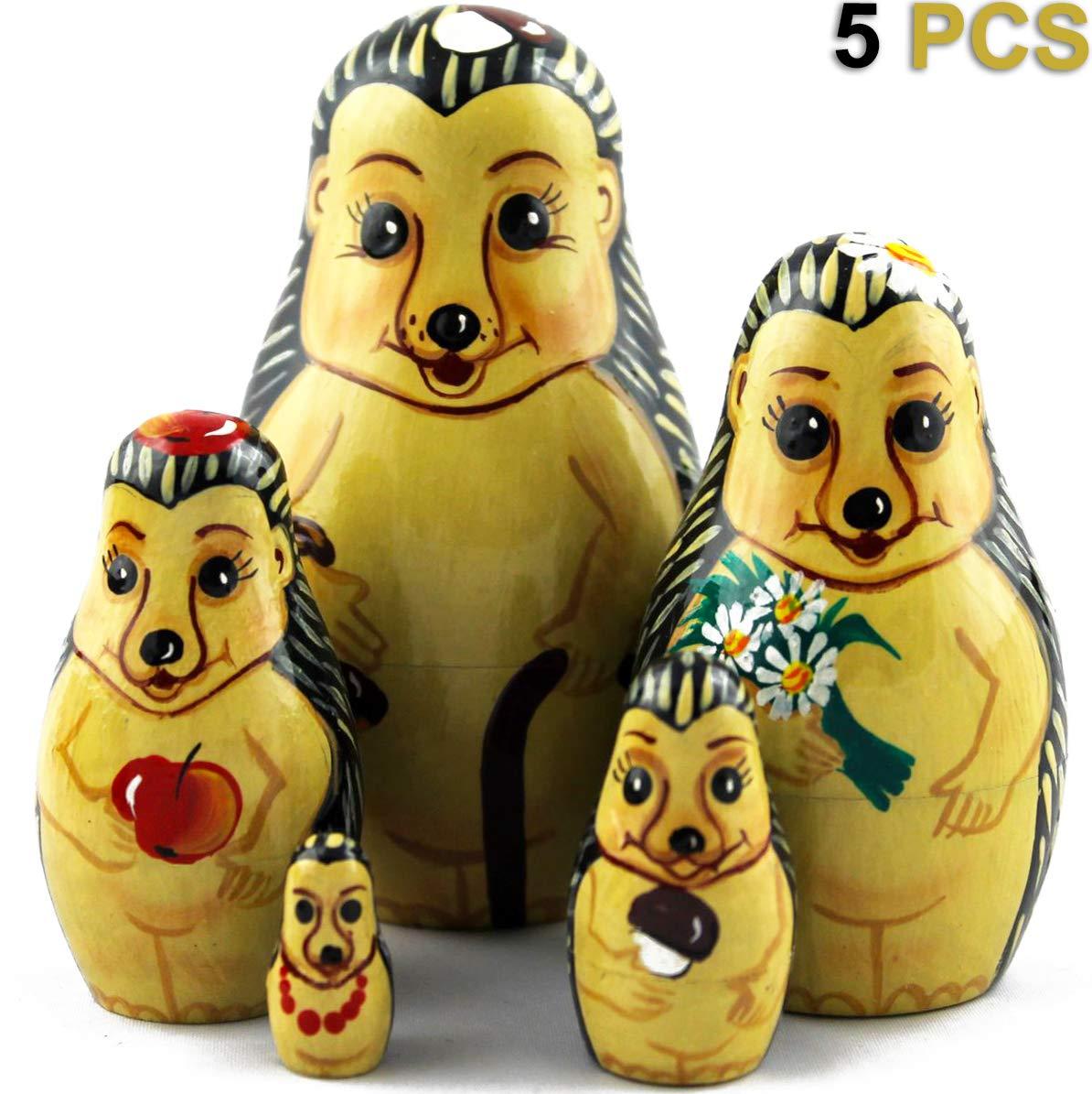 MATRYOSHKA&HANDICRAFT Nesting Dolls Hedgehogs Toys Set 5 pcs - Hedgehogs Animal Figurines by MATRYOSHKA&HANDICRAFT