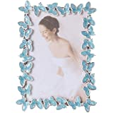 Memorecoder Butterfly Blue Comb Metal Picture Frame Decorative with High Definition Glass for Table Top Desk Photo…