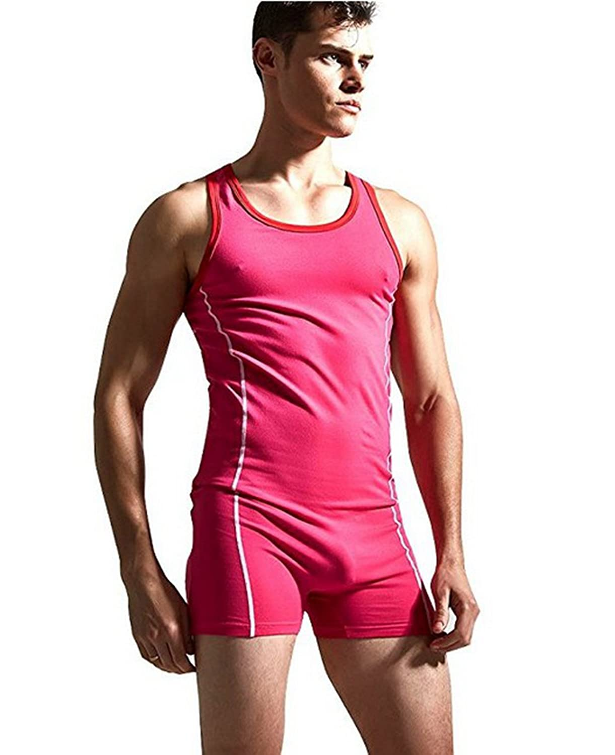 CHICTRY Men's Sleeveless On Piece Bodysuit Leotard Stretchy Singlet Gymnastics Underwear