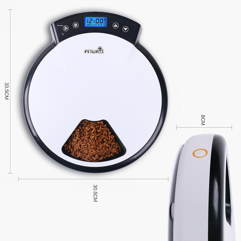 TD Dispensador de alimentos automático para perros y gatos, en seco y húmedo. 5 Comidas, 5 x 240 ml: Amazon.es: Productos para mascotas
