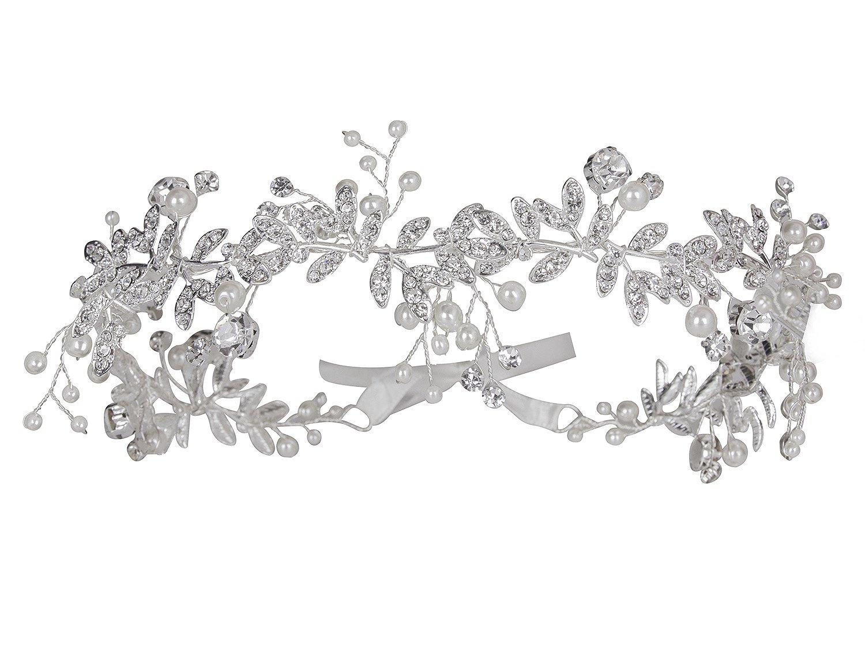Amazon sweetv bohemian headpiece crystal pearl bridal hair vijiv vintage wedding accessories bridal headpiece flower crown headband hair wreath izmirmasajfo