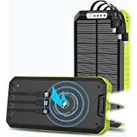 Solar Charger, 30000mAh Solar Power Bank, Qi Wireless Portable Charger Dual Outputs USB C Quick Charge with External 3…