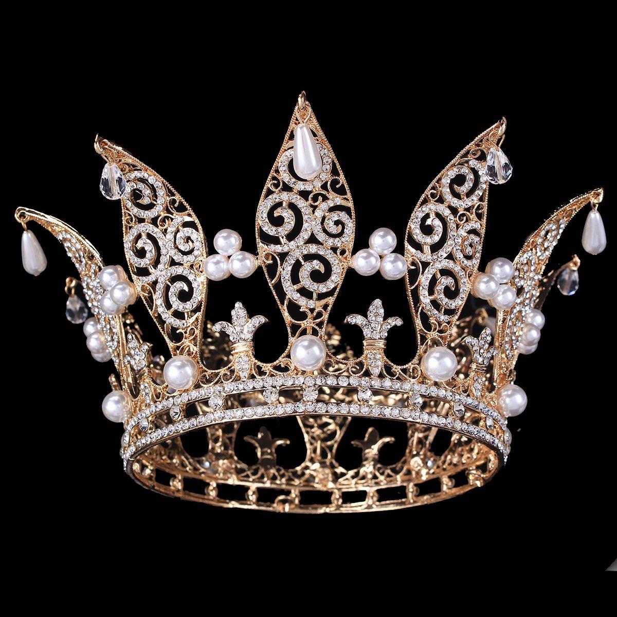 FUMUD 3.1'' Gold Plate Bridal Tiara Crown Flower Headband Wedding headpiece Queen Crown Full Crown