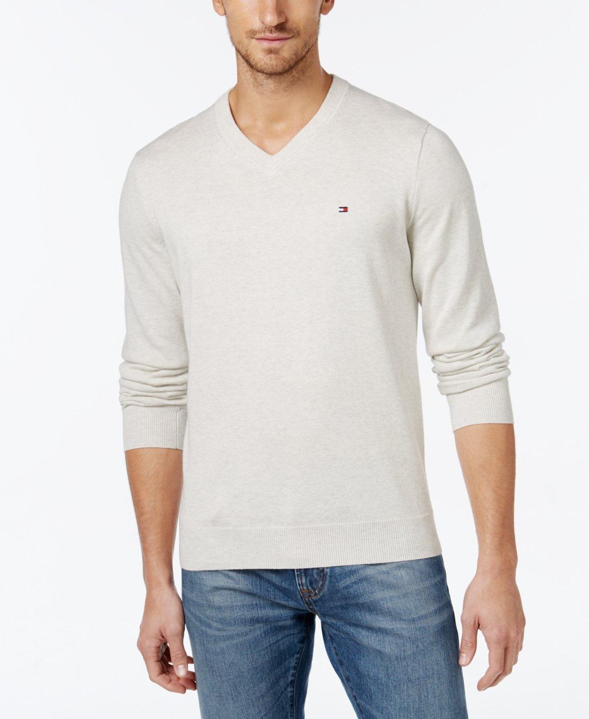 Tommy Hilfiger Mens Premium Cotton V-Neck Sweater - XL - Ice Grey Heather