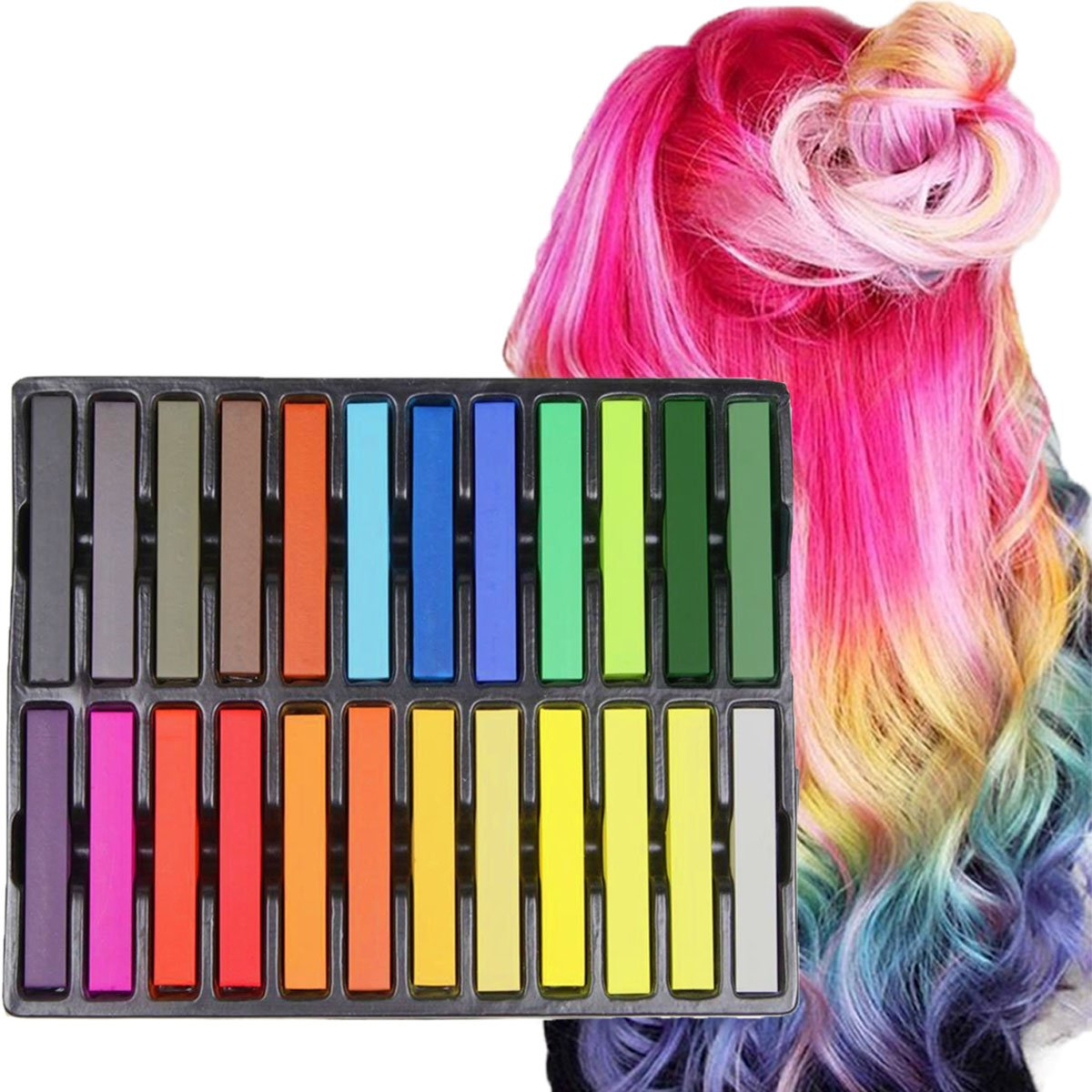 Hair Chalk Set, Kyerivs 24 Color Temporary Hair Pastels For Kids Hair  Dyeing Party and Cosplay DIY, Works...