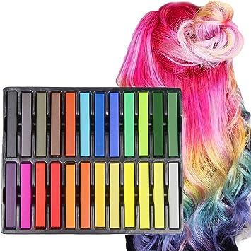 Amazon.com: Hair Chalk Set, Kyerivs 24 Color Temporary Hair Pastels ...