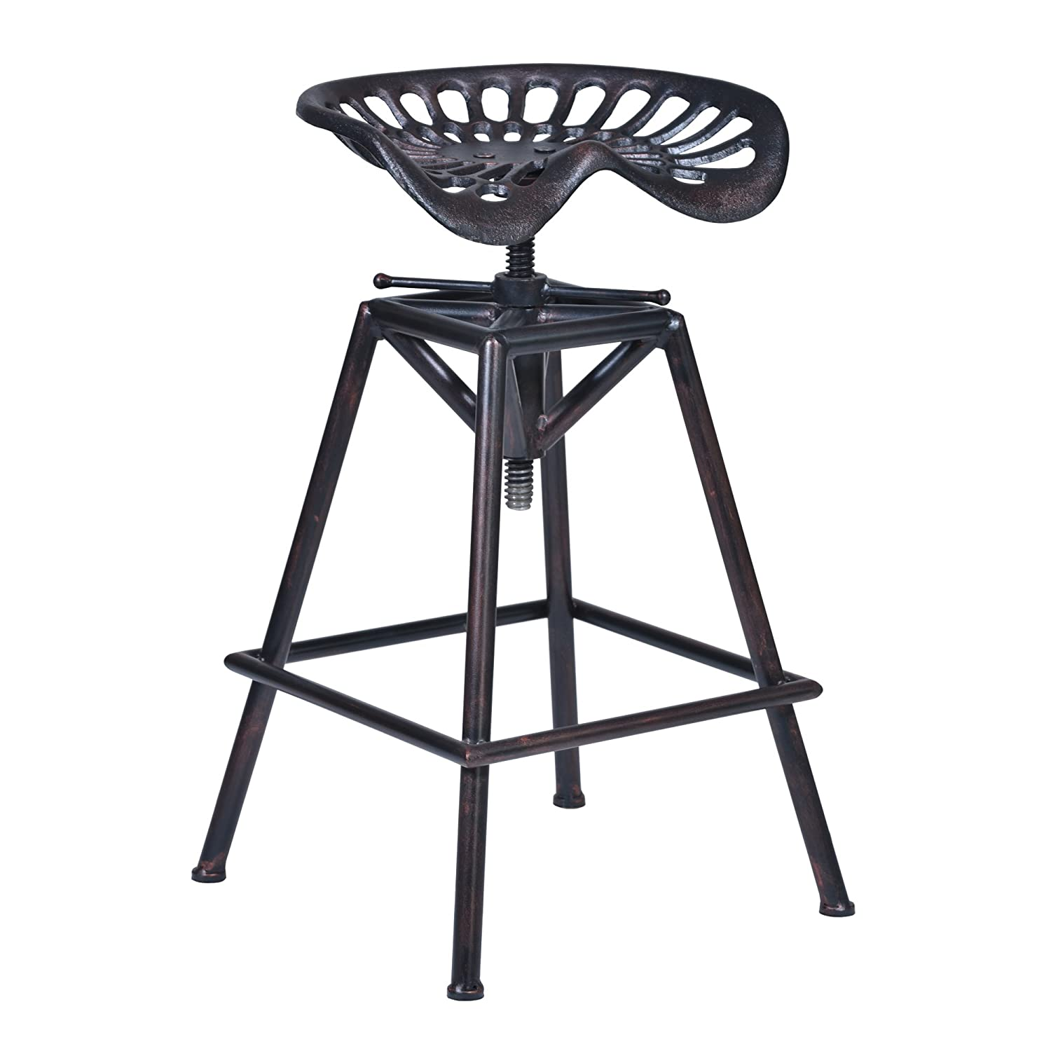 Armen Living LCOSSTRECO26 Osbourne Adjustable Barstool in Industrial Copper and Industrial Copper Finish