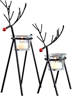 Amazon.com: Reindeer Tealight Candle Holders Metal - Set of 6 ...